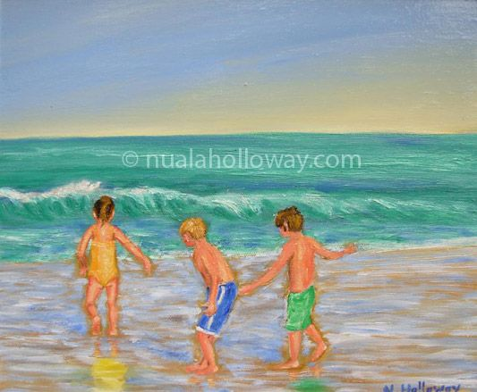 """""""Waiting For The Big One"""" by Nuala Holloway - Oil on Canvas #SummerHolidays #Beach #Children #OilPainting"""