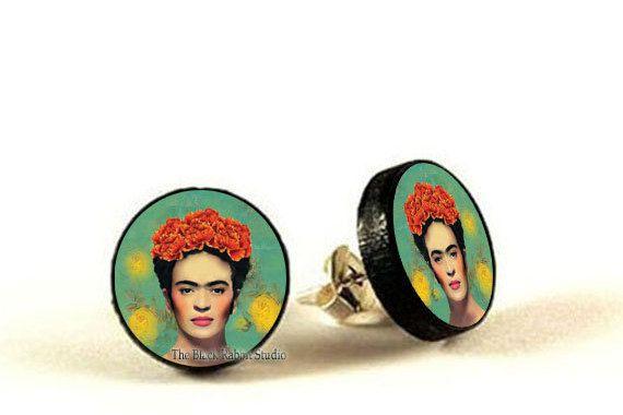 Frida Kahlo Earrings Frida Kahlo Jewelry by theBlackRabbitStudio