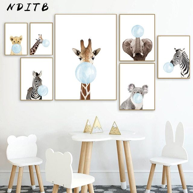 Baby Animal Blue Bubble Poster Nursery Canvas Wall Art Print Zebra Giraffe Painting Nordic Kids Decoration Pict Nursery Canvas Nursery Wall Art Animal Wall Art