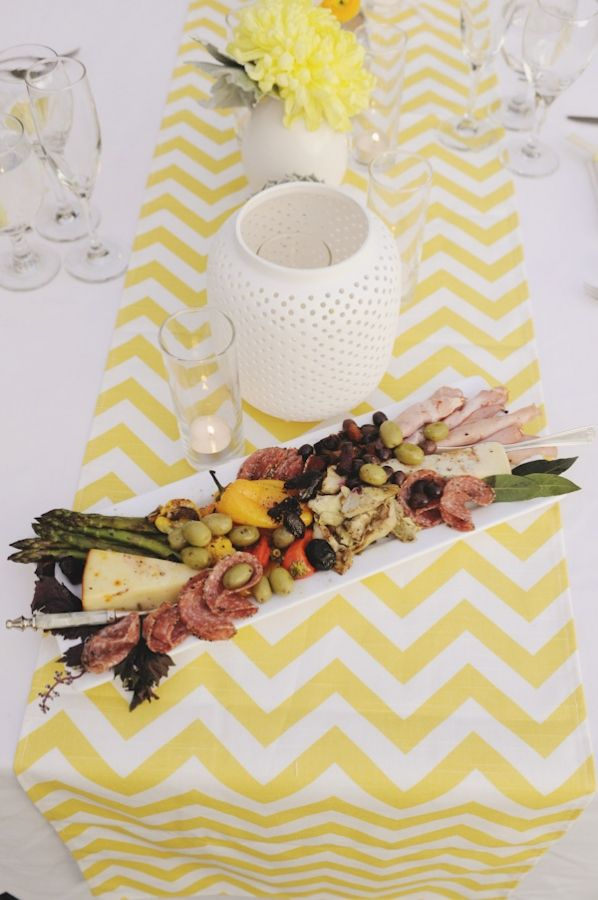 Yellow and white chevron table runners