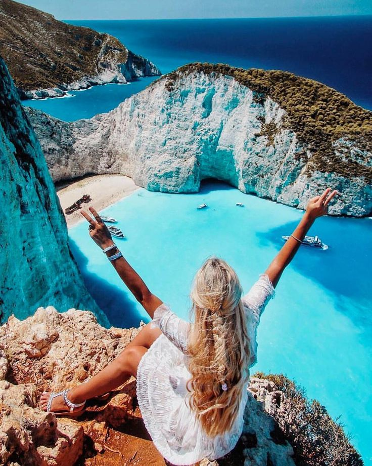 """607 Likes, 10 Comments - Travelshoot (@travelshootco) on Instagram: """"Blogger and globetrotter @pilotmadeleine overlooking the turquoise Ionian Sea on Zakynthos Island.…"""""""