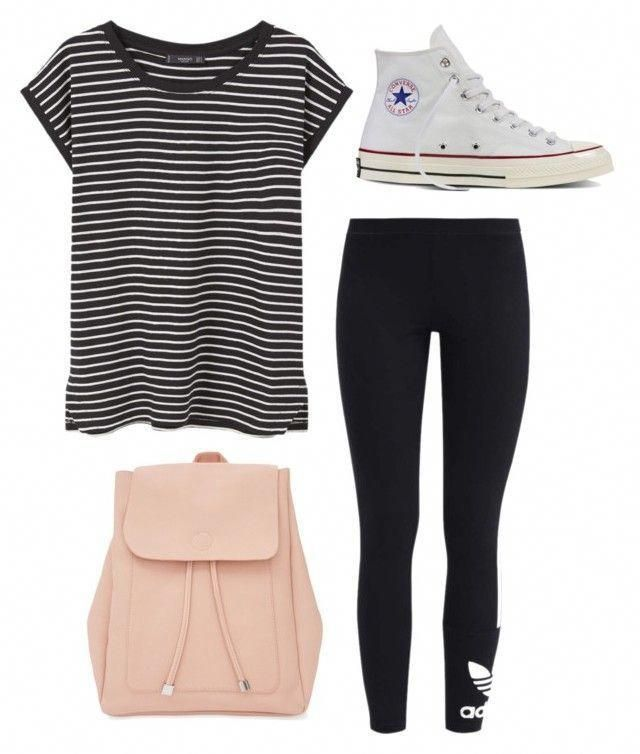 "Cute Outfits ""Outfits for school"" by allieproffer on Polyvore featuring adidas Originals, MANGO, New Look and Converse #summerfashionoutfits"