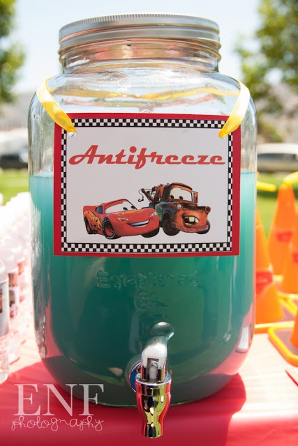 Cars Themed Birthday Party - Would you seriously serve this at a child's party??  Kids get ideas from everywhwere -- What if they go and drink Real Antifreeze....you know, like the kind at Timmy's party, just in a different container?!