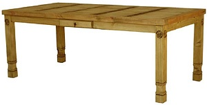 This popular rustic table with hand-carved stars is offered in three sizes. The medium size will seat four comfortably. The large can seat six comfortably and the extra-large has room for up to eight adults! There's a small drawer in the center for napkins or utensils. This piece can also serve as a library table, sewing table, desk, hobby or potting table. The sturdy handmade construction of this piece of southwestern furniture will give you a lifetime of service. Handmade in Mexico.