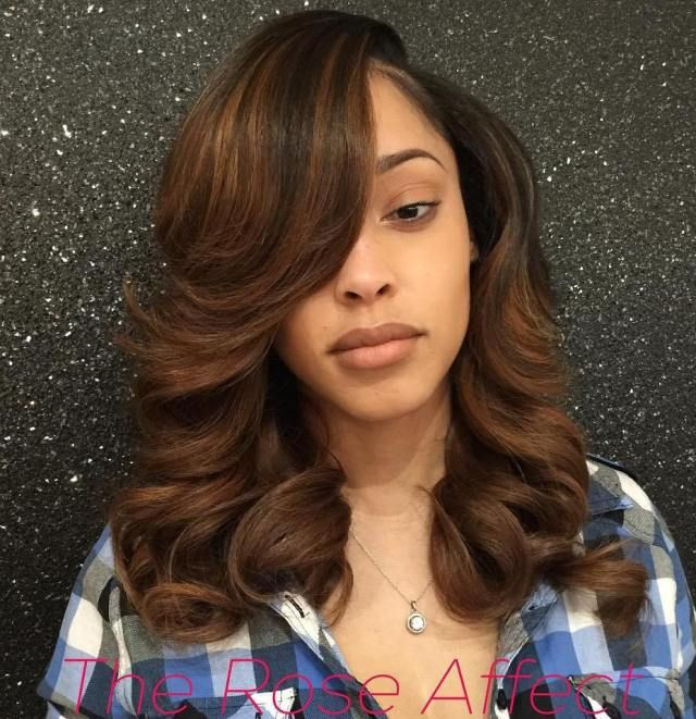 Brown Weave Hairstyle With Bangs And Highlights