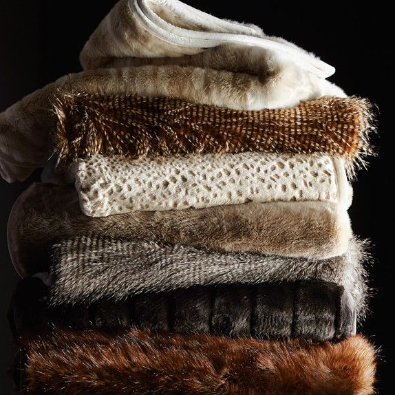 Williams-Sonoma Faux Fur Throw & Blanket, Brown Owl Feather | Williams-Sonoma