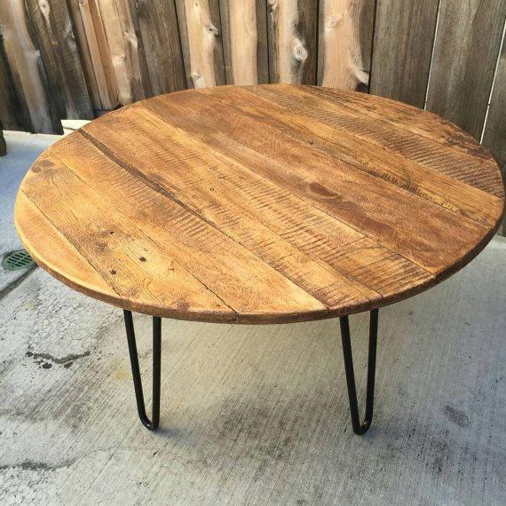 Reclaimed Wood Mid Century Coffee Table: Old Fart Circular Reasoning Coffee Table, Reclaimed Wood