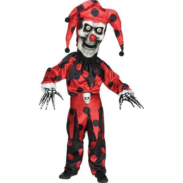 Sinister Jester Child Boys Clown Evil Dress Fancy Scary Costume Halloween