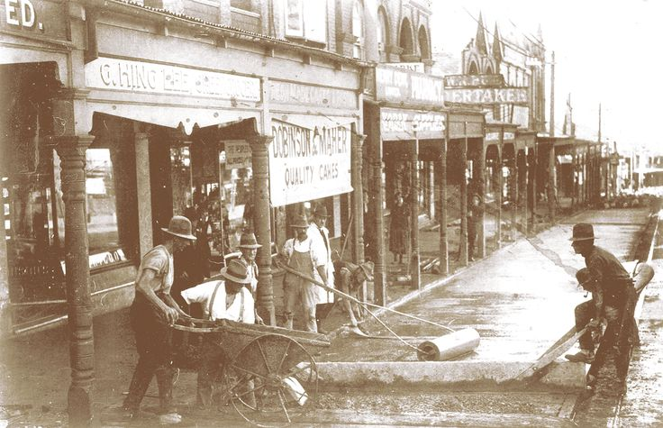 Pouring the first concrete road, Military Rd, Sydney c1924