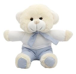 They'll go to bed early with this adorable Teddy Bear. Dressed in blue stripped pijamas, this super-soft Teddy will be their bedtime buddy long after they'll admit to it. #NewBaby #TeddyBear