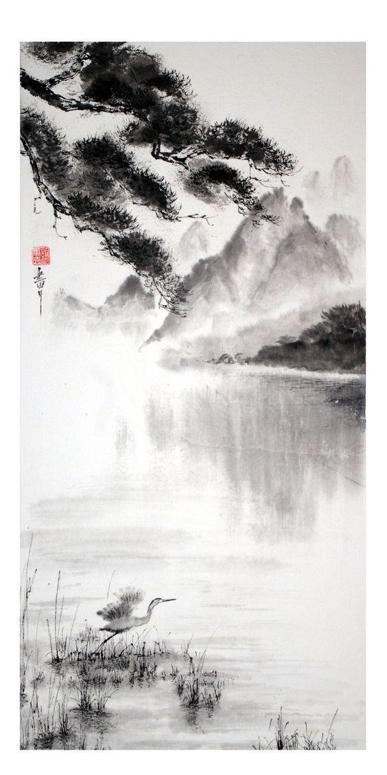 Der Flug des Reihers – Das Gemälde Zen oder Sumi-e – Pinterest : why6947 #Bleistiftzeichnung #bleistiftzeichnunglandschaftleicht #bleistiftzeichnunge…