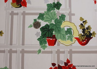 1940's Vintage Wallpaper Red Green and Yellow Kitchen Wallpaper So Cute | eBay