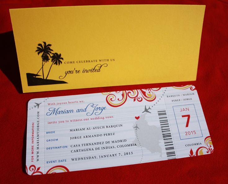23 best invitaciones images on Pinterest Invitations, Bridal - airplane ticket invitations