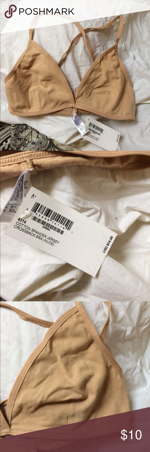 AA cotton Spandex crossback Bra Nude colored cotton Spandex jersey crossback bra. One of my favorites and super comfy. Brand new with tags. American Apparel Intimates & Sleepwear Bras