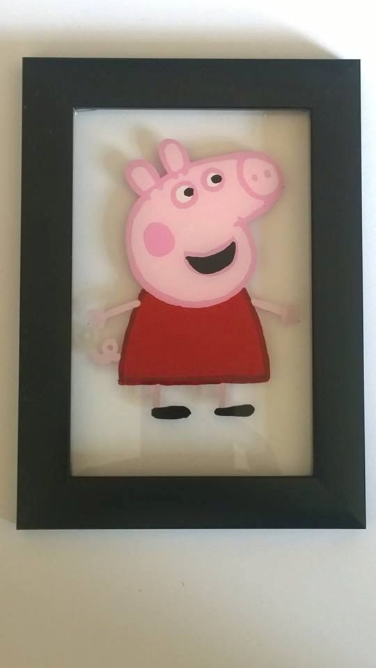 Peppa pig painting 13.5cm x 18.5cm by BeUniqueCrafting on Etsy