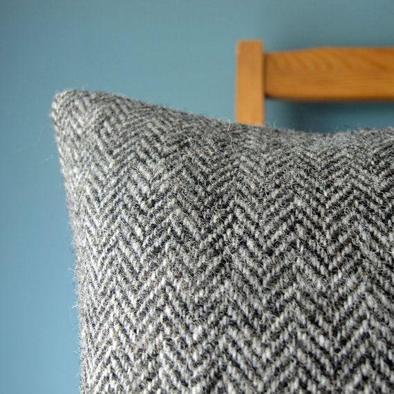 Harris Tweed Luxury Grey Herringbone Cushion Herringbone