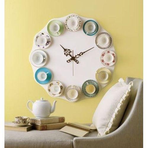 teacup clockVintage Teacups, Ideas, Tea Time, Teacups Clocks, Teas Time, Teas Cups, Wall Clocks, Tea Cups, Diy