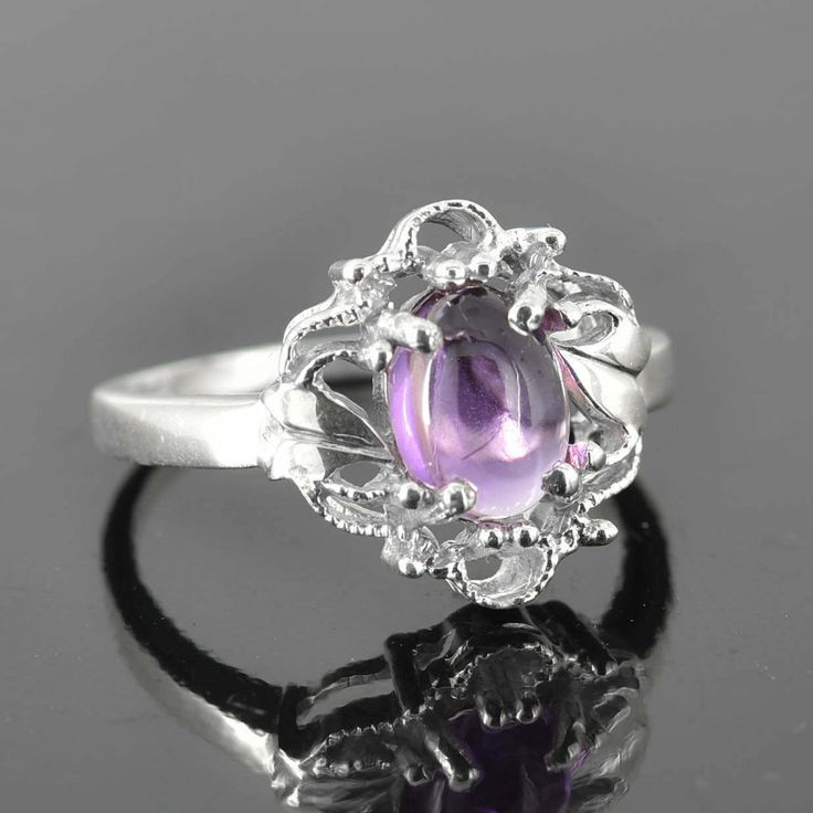 Amethyst Ring, 2 ct, Purple, Oval Cut, Birthstone Ring, February, Gemstone Ring, Sterling Silver Ring, Solitaire Ring, Statement Ring by JubileJewel on Etsy