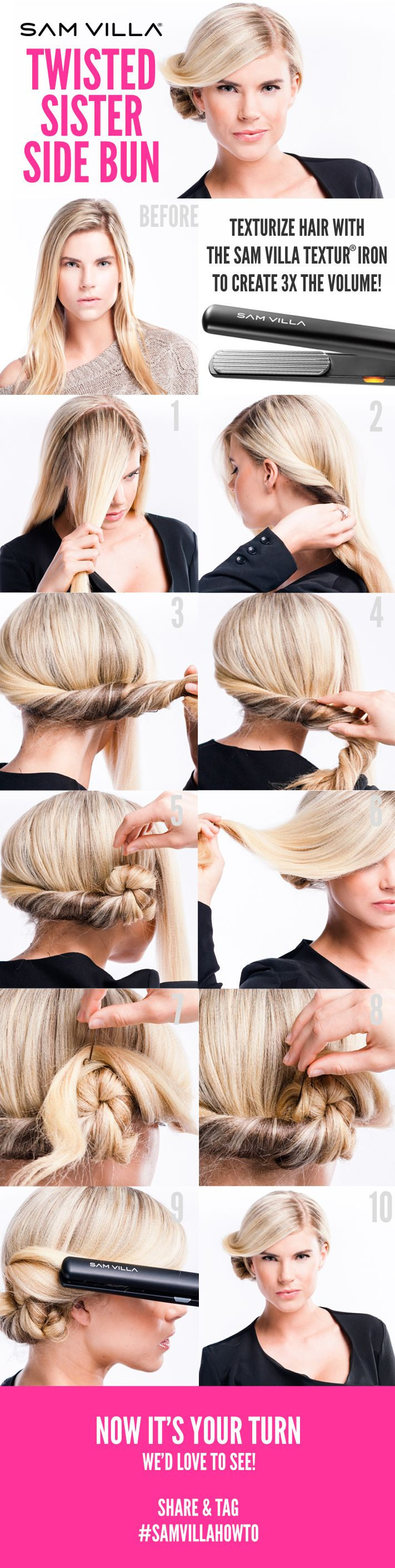 If You Can Twist Your Hair We Have A Super Easy And Fashion Forward Updo For The Twisted Sister Side Bun Is Fun Hairstyle That Be Worn