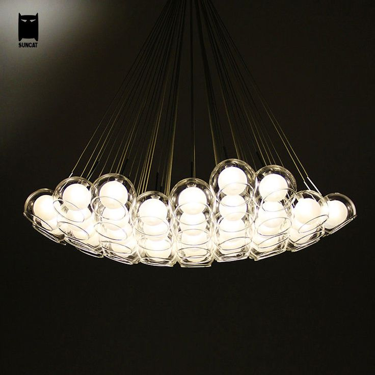 Clear Glass Bubble Ball Globe Sphere Chandelier Light Fixture Modern Nordic Hanging Lamp Lustre Luminaria For Living Dining Room