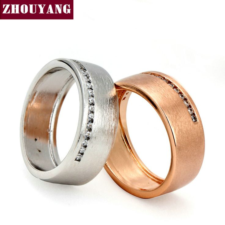 Top Quality Fashion Design Wire Drawing Process  Gold Plated Lover's Ring Austrian Crystal Full Sizes Wholesale ZYR378 ZYR379
