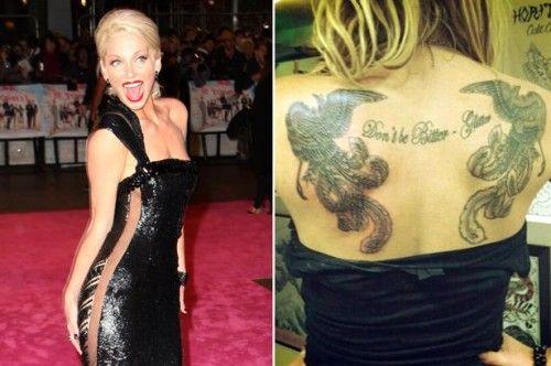 "Sarah Harding Back Tattoo ""Don't be Bitter Glitter"""