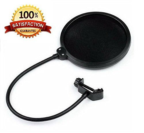 Pop Filter for Microphones - Musician Recommended Nylon Double Filter Wind Screen - Suitable for most Condenser, Dynamic or Ribbon Mics - 360° Flexible and Strong Gooseneck - Bonus 3 Mic Pop Foam Covers MoozikPro http://www.amazon.com/dp/B00NOYAXP6/ref=cm_sw_r_pi_dp_GO1Rub19G30PM
