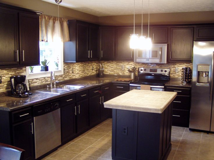 F : Charming Home Interior Small Kitchen Design With Black L Shape Wooden Kitchen  Cabinet Using Grey Granite Countertop Having Double Chrome Sink With .