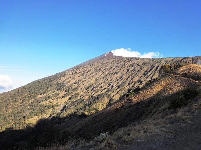 Rinjani's summit seen from Sembalun crater rim. Photo by Rini Raharjanti