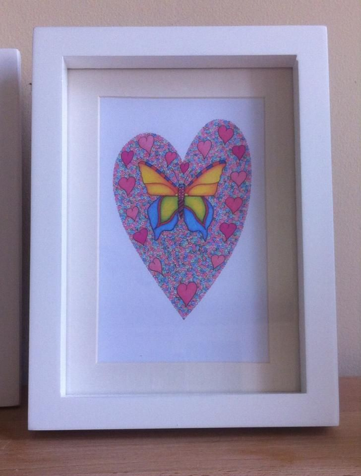 framed butterfly heart by Emmas Art