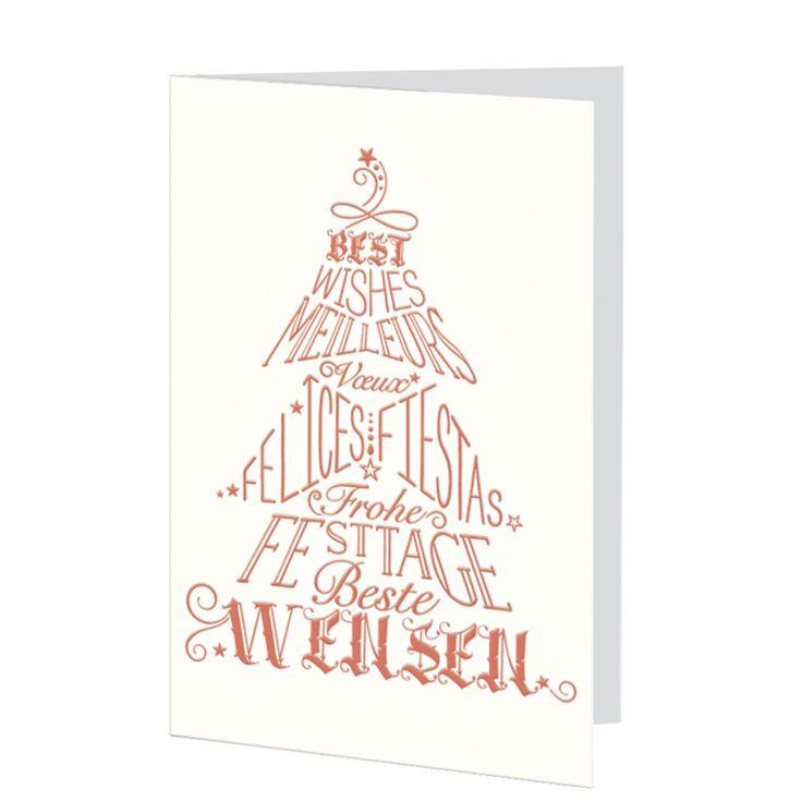 Internationale Weihnachtskarte aus edlem Strukturkarton online bei Top-Kartenlieferant bestellen.