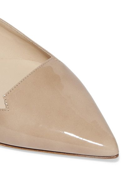 Jimmy Choo - Attila Patent-leather Point-toe Flats - Beige - IT