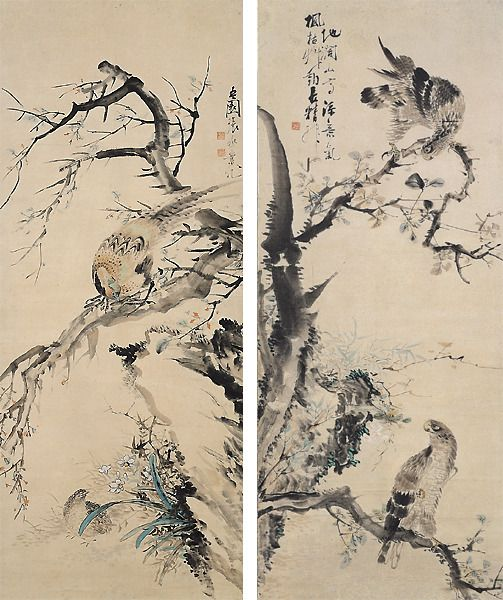 오원 장승업 (1843~1897), 쌍취도, 호취도: 오원(吾園)은 패기에 찬 의욕적인 작가이기 때문에 같은 대상을 표현할 때에도 아름다움보다도 힘의 상태를 표현하고 있다. 이 호취도 영모 작품은 나뭇가지가 위에서 아래로 대각으로 흘러내리고 그 대각선상에 한 마리 또는 두 마리의 새가 대칭으로 표현되어 친근감을 나타내고 있다.
