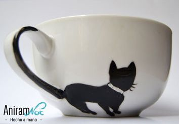 Taza mug gato pintada a mano Aniramnoc