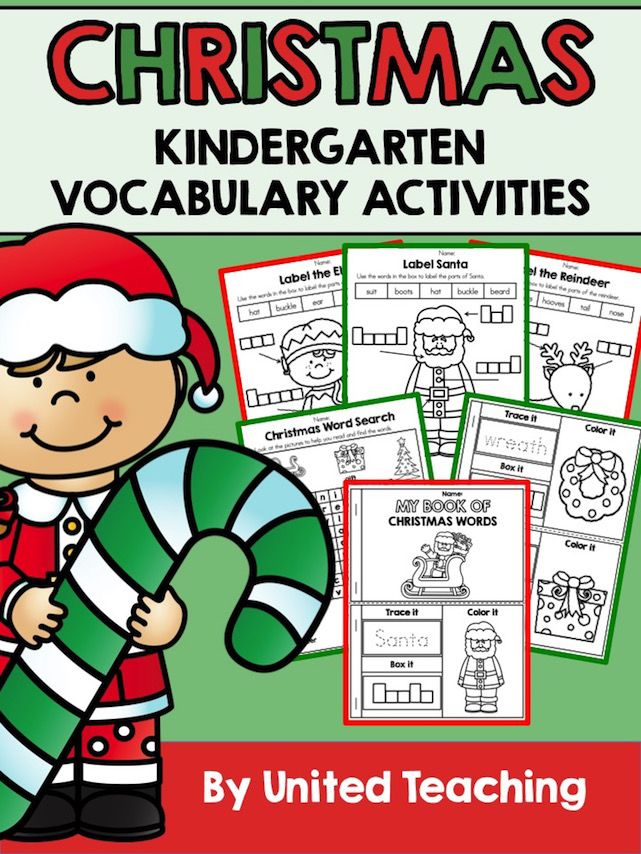 *** FREE *** Christmas Kindergarten Vocabulary Activities: Labelling, Word Search, and My Book of Christmas Words