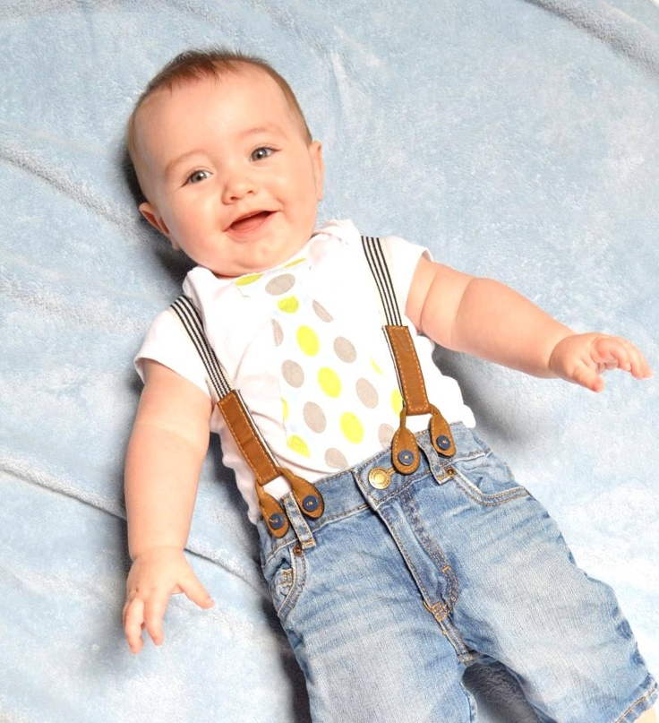 Baby boy suspenders suit: pants, vest, bow tie are perfectly harmonized by authenticity, naturalness, ecology and the new fashion trends Pants with decreased crotch are free and doesnt restrict any babys movement. Very easy dressed. The pants are with elastic rubber at the waist in.