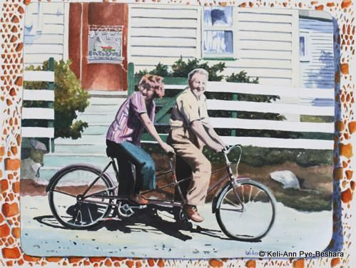 Art prints from original paintings by Newfoundland Artist Keli-Ann Pye-Beshara. A great friend of our family commissioned this special painting of his parents, back in the day, living the simple happy life and enjoying the Newfoundland sunshine on a bicycle built for two. Normally I don't do prints of commissions, but since the Kane Family is so large and they all wanted prints of the original, Eugene agreed to do prints of it so everyone can share in the moment.