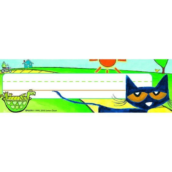 """Purrfect for labeling desks and cubbies! Set of 36 (2.75"""" x 9"""") nameplates."""