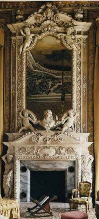 Palazzo Papadopoli, S'Polo, Venice - The Sitting Room & The Extraordinary Chimney, Mantle Piece with its Mirror & Marble Sculptures.