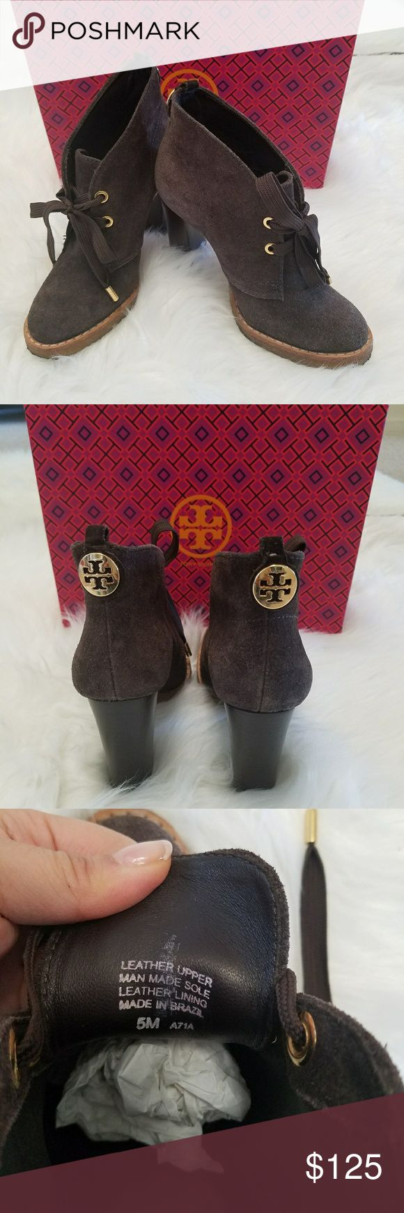 Tory Burch Chocolate brown suede lace ankle boots Authentic. Excellent condition. Gold toggles on the tips of the lace up features. Soft and comfy Wore once. Heels are 4 in high Tory Burch Shoes