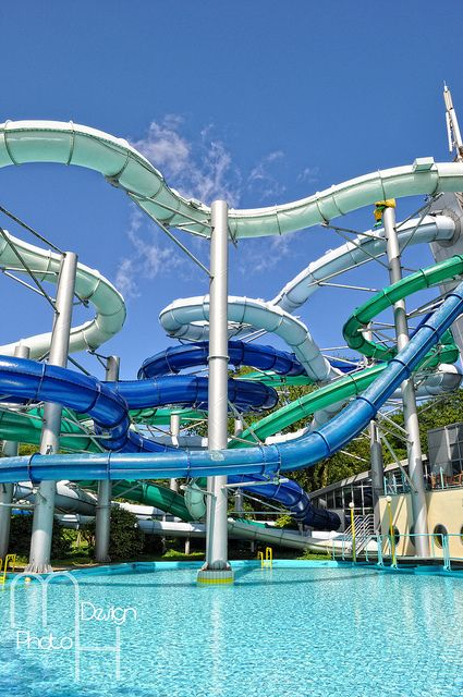Waterslides in the Duinrell Waterparc Wasenaar in the Netherlands