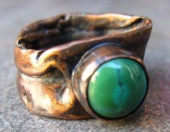 Earthy turquoise and copper ring by CopperTreeArt on Etsy, $50.00  Www.coppertreeart.com