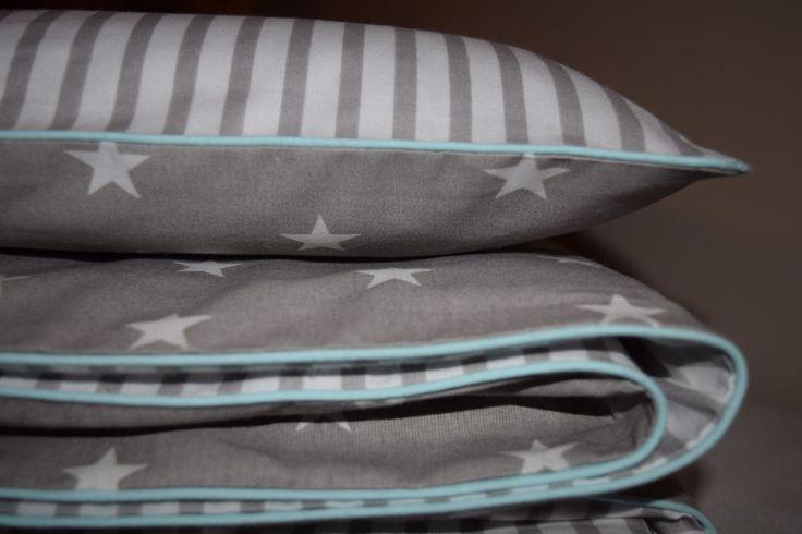 100%COTTON Single Cot Bed Duvet Cover Set Girls Boys Grey Stripes Stars Mint