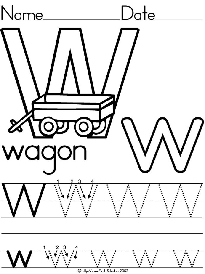 Alphabet Letter W Wagon Standard Block Manuscript Handwriting