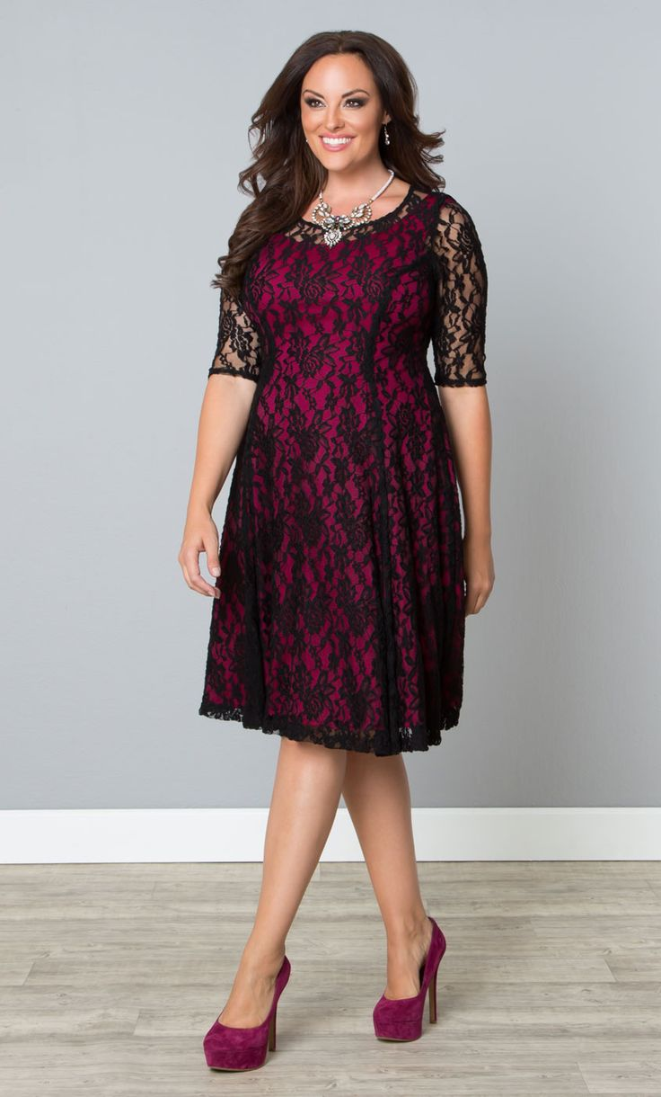 Our plus size Sweet Leah Lace Dress is now on sale!  www.kiyonna.com  #KiyonnaPlusYou  #MadeintheUSA  #Cocktail  #SemiFormal