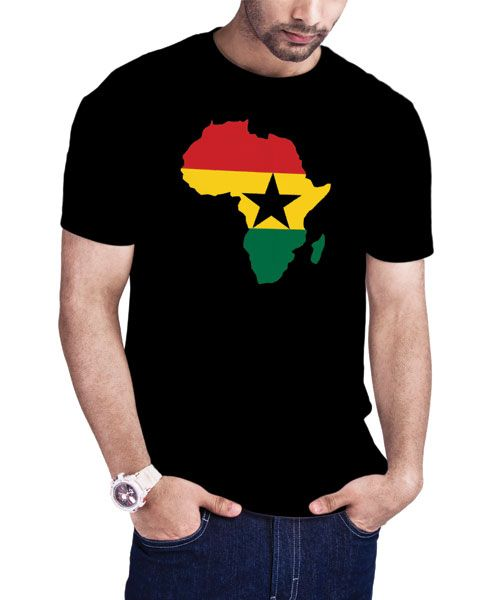 This men's Ghana Flag T-Shirt is a top seller. It shows the Ghana Flag clipped in the map of Africa. Available at http://www.allafricatshirts.com/product/mens-ghana-flag-africa-map-t-shirt/