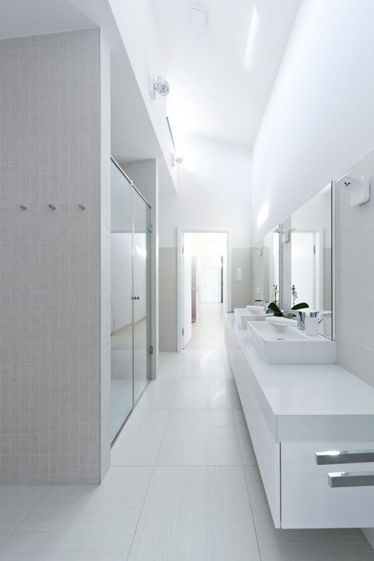 Web Image Gallery Modern Galley Bathroom Design Showing White Floating Vanity Also Enclosed Shower Use Glass Door under Sommelier us Home by Sandor Duzs and Architema