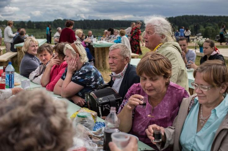 Locals celebrate the 380th anniversary of their village, Sergievskaya Sloboda. For the fifth time in the past 25 years, the village's former and current residents have celebrated the anniversary, singing songs and retelling old stories. The festival is made possible by a local entrepreneur, the owner of the town's sawmill. July 2015.