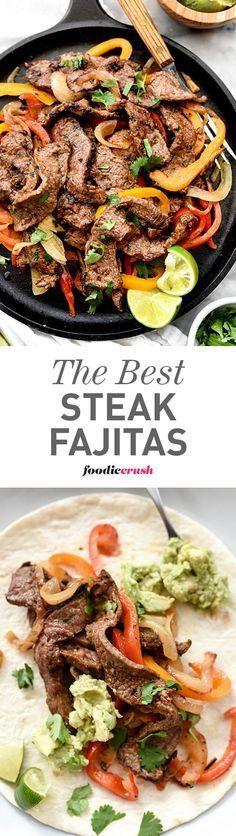The homemade fajita spice mix is what makes these Steak Fajitas the best I've ever eaten | http://foodiecrush.com