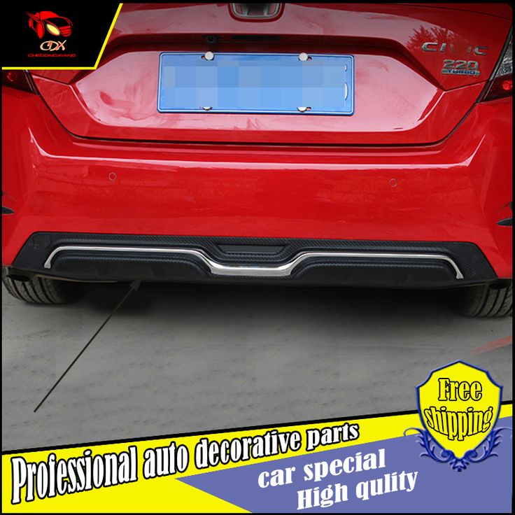 Car Styling ABS Rear bumper spoiler For Honda Civic 2016 back bumper guard cover spoiler trim car Decoration Accessories #Affiliate